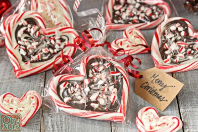 Peppermint Bark Candy Cane Hearts   From OhNuts.com