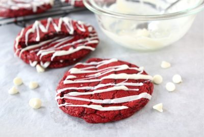 Red Velvet Cookie Recipe with bowl of frosting