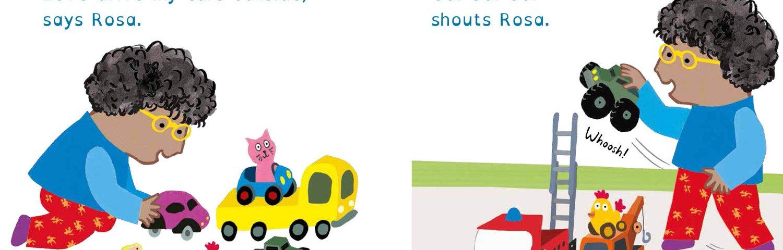Spread of Rosa Loves Cars