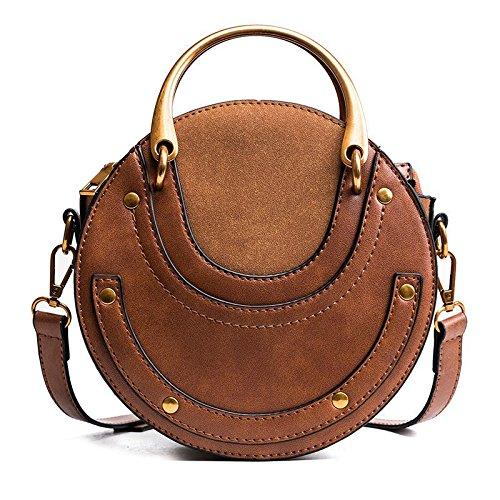 TOOGOO Sac a main en cuir PU givre rond pour femmes,Sac a main retro,Circulaire,Mini-sac a col rond (Brun)