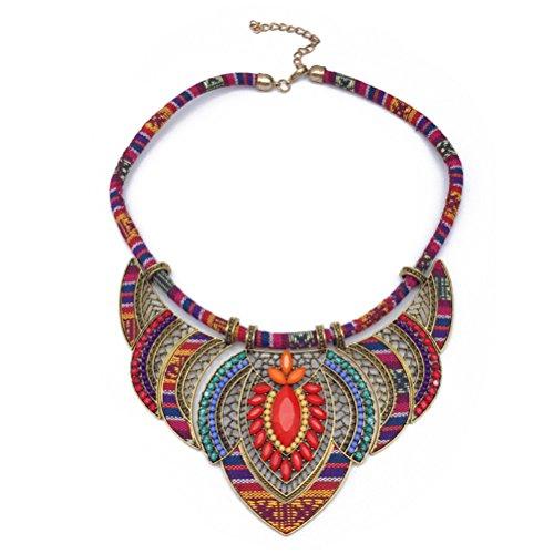 Collier ras du cou ethnique Bib Collares fait à la main multicolore perles Boho déclaration bijoux pour femmes (rouge)