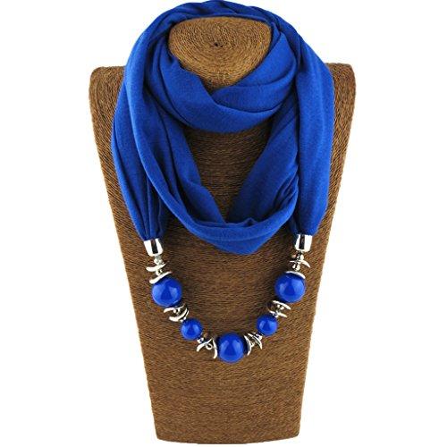 Kofun Écharpe Femme, Collier de Femmes de Style Ethnique Bijoux Perles Magnifiques écharpe Collier rétro Bleu Royal