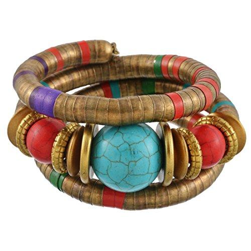 MJARTORIA Femme Bijoux Bracelet Multicouche Bohémien Ethnique Turquoise Artificielle Boho (Jaune)
