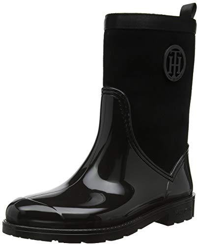 Tommy Hilfiger Warmlined Suede Rain Boot, Bottes & Bottines de Pluie Femme, Noir (Black 990), 39 EU