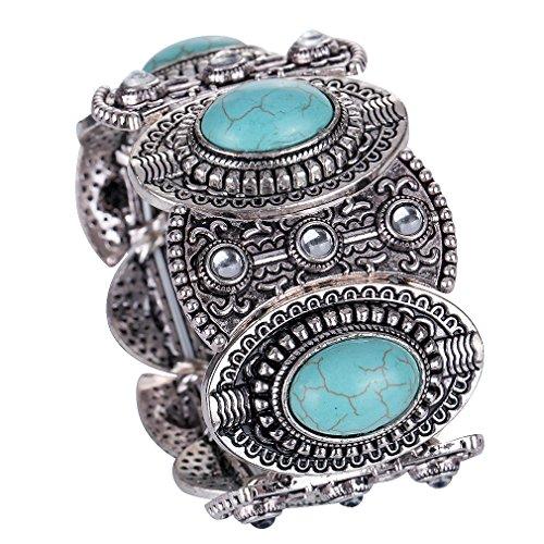 Tibetain Argent Turquoise Inlay Oval gothiques femmes bracelet large