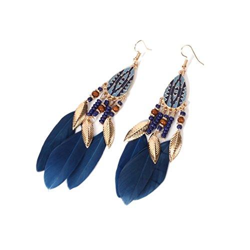 YAZILIND hameçon boucles d'oreilles style bohème perles ornements hypoallergéniques (lac bleu)
