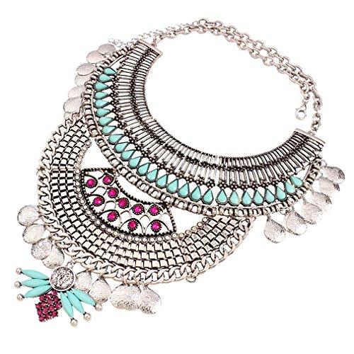 Yazilind Sterling Silver Ethnique Déclaration Bib Strass Résine Style Choker Argent Collier pour Bijoux Femmes Cadeau