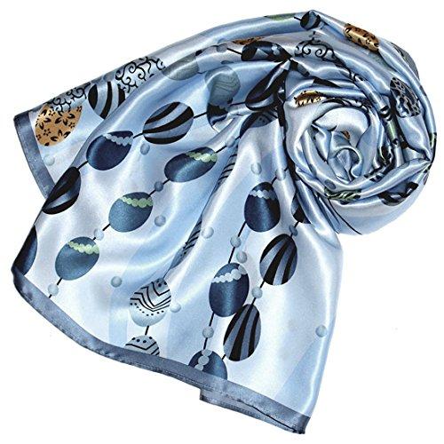 LORENZO CANA Foulard pour la femme - écharpe de 100% soie pour le printemps et lŽété, carré avec les mesures de 90 x 90 cm - une sensation de luxe en bleu clair vert beige ocre