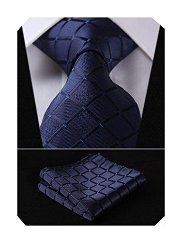Cravate de mariage Mouchoir Pour des hommes Cravate & Carre de poche Set bleu marin