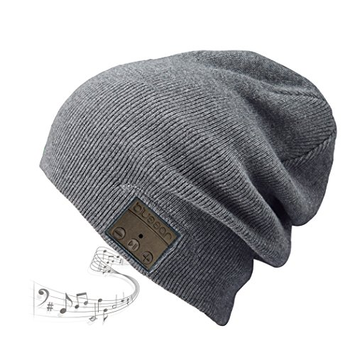 Blue Ear® Bluetooth Winter Beanie Music Headset V4.1 Version Up to 8 Hours Playing Time Fitting for Outdoor Skating Walking Running. (H9 Grey)