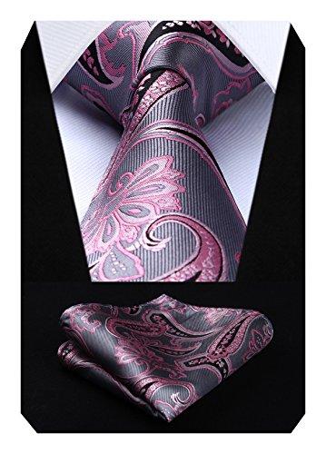 Cravate Mouchoir Cravate des hommes ; Carre de poche Set Rose grise
