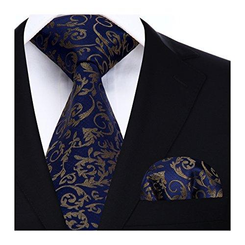 Cravate Mouchoir  Carre de poche Set Bleu marine/marron