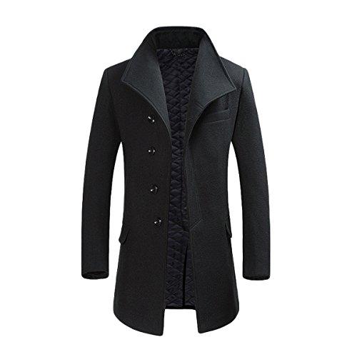 Manteau Homme pas cher Hiver 2020 Long Trench Coat Slim Outerwear Couleur Unie Coat en Laine, Noir, M