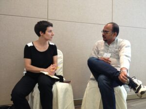 vishnu_vardhan_in_conversation_with_iolanda_pensa_regarding_wikimedia_india_glam_initiatives_at_wikisym_hong_kong
