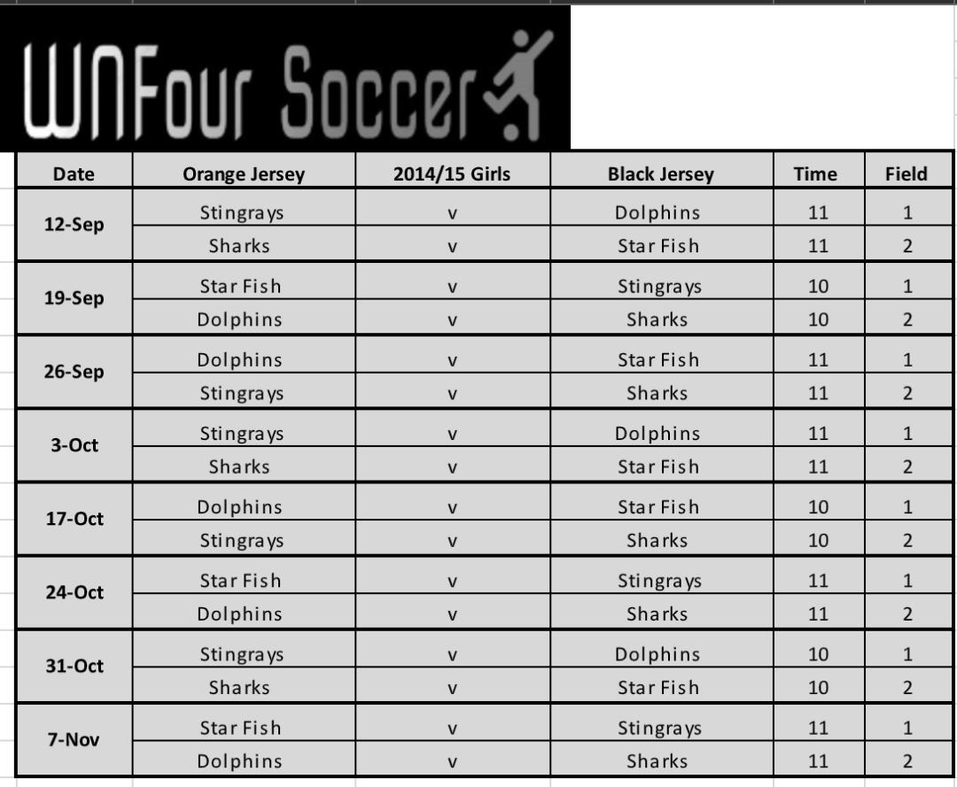 U7/U8 Girls Game Schedule