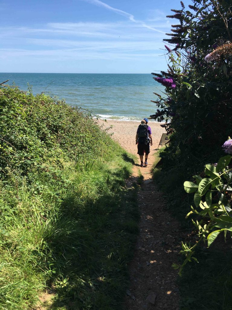 Walk to Weston Mouth Beach: entrance to beach