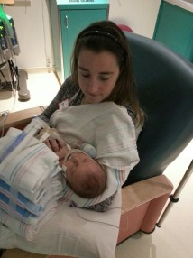 Holding Luke for the first time!