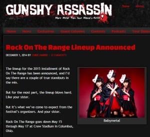 babymetal海外の反応12月gunshy assassin