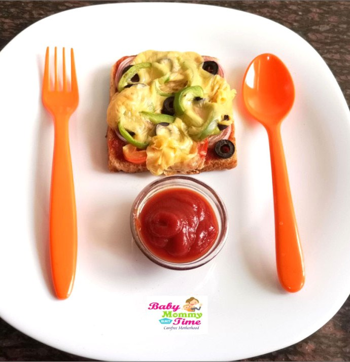 Bread Pizza Recipe for Kids on Microwave & Tawa