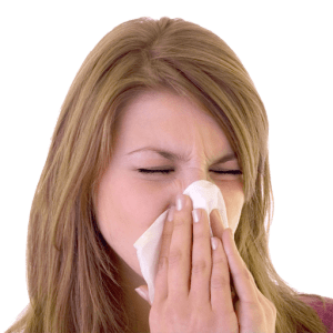 A woman making funny sounds blowing her nose