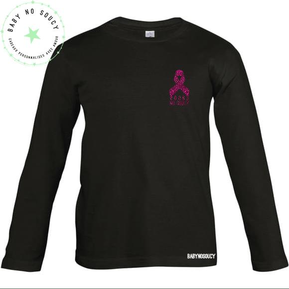 tee-shirt boobs no soucy octobre rose noir devant
