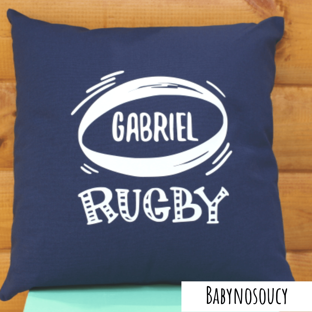 coussin personnalisé rugby marine