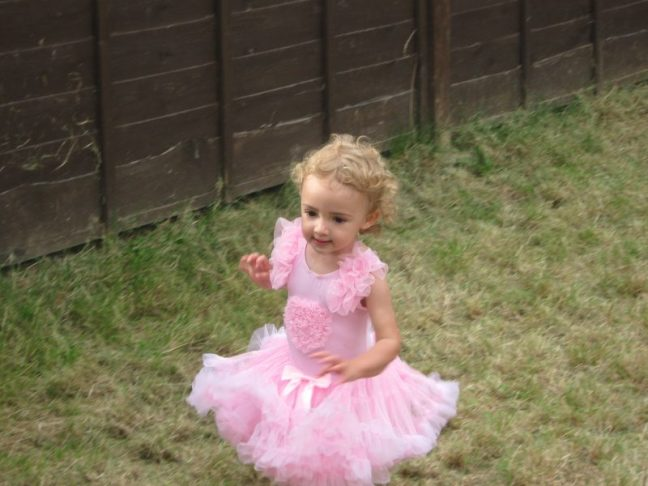 Isabelle in a pink tutu on her second birthday