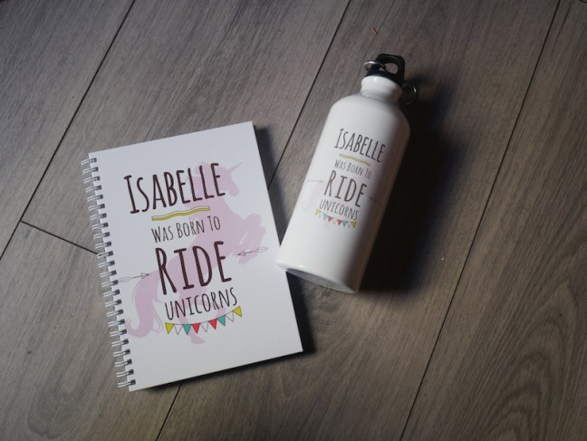 Personalised kids water bottle and notebook. Perfect for going back to school