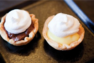 Chocolate cream and lemon meringue pies