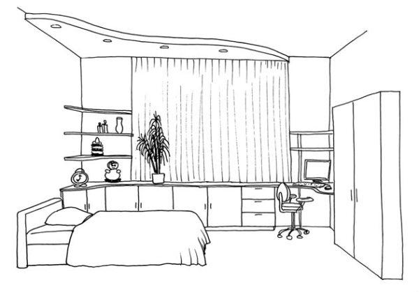 Рисунки детской комнаты карандашом с мебелью и текстилем