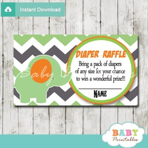green elephant chevron diaper raffle tickets pdf