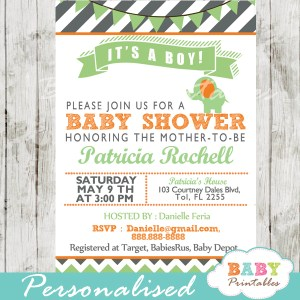 green orange printable elephant baby shower invitations ideas