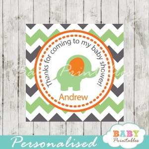 printable custom green elephant baby shower gift tags