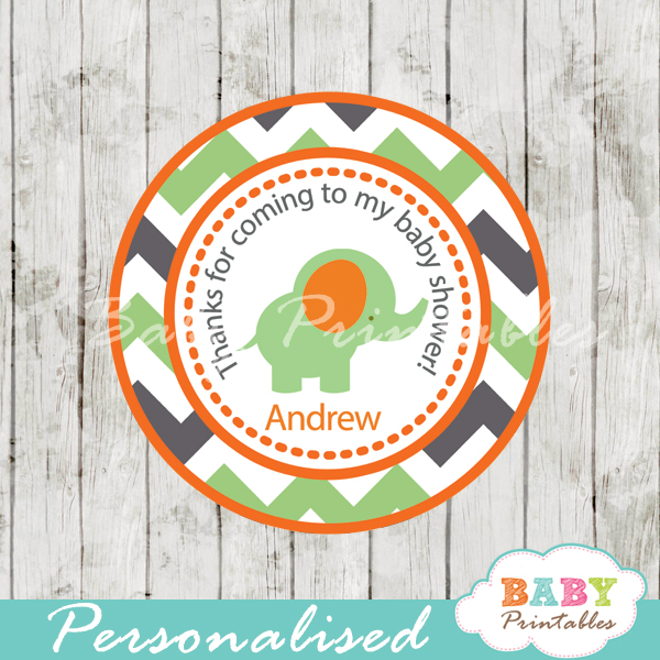 printable custom green elephant baby shower labels toppers