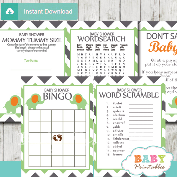 printable elephant baby shower game fun ideas