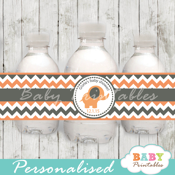 personalized girl peach elephant baby shower bottle wrappers