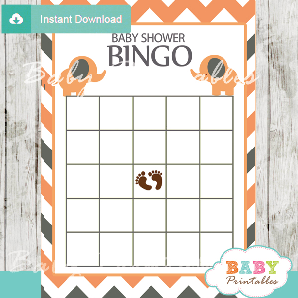 bingo baby shower games printable cards