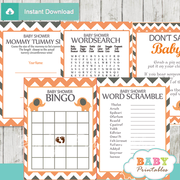 printable elephant baby shower fun games ideas