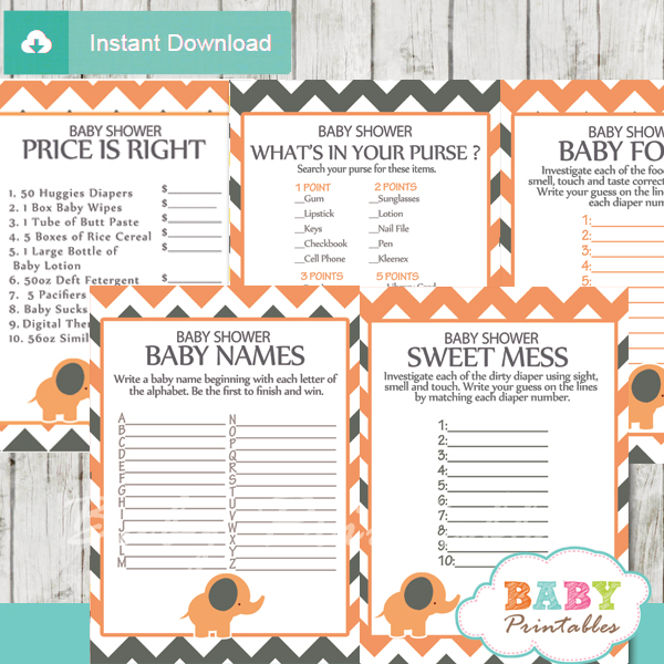printable peach elephant baby shower games package