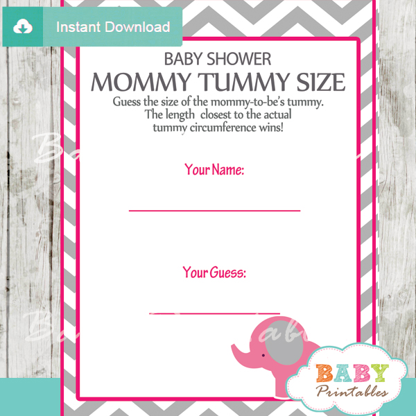 Hot Pink Elephant Baby Shower Games Bundle - D103 - Baby ...