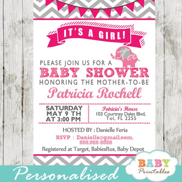 Hot Pink Elephant Baby Shower Invitation Card D103