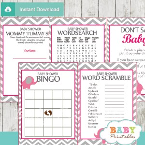 printable elephant baby shower fun games ideas girls