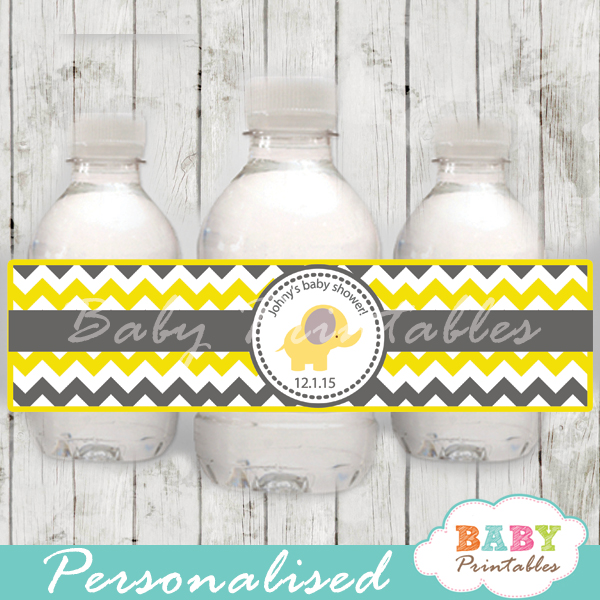 printable elephant theme baby shower bottle wrappers