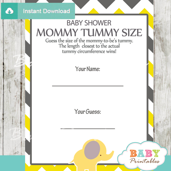 Baby Shower Game Guess the Mommy's Tummy Size printable