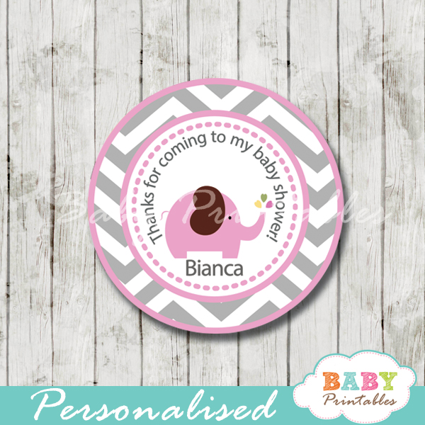 Gianna S Pink And Gray Elephant Nursery Reveal: Pink Elephant Baby Shower Favor Tags