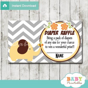 printable yellow elephant chevron diaper raffle tickets pdf
