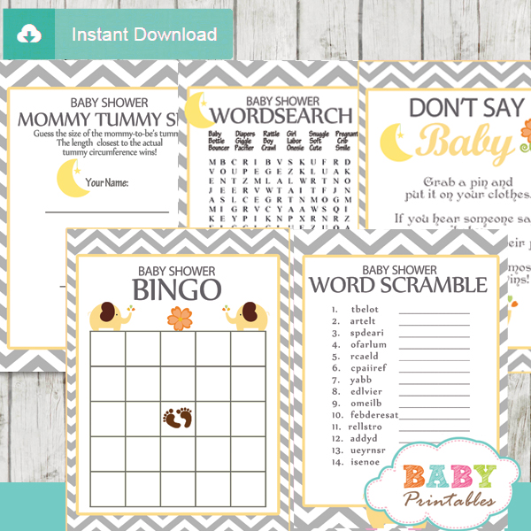 yellow printable elephant baby shower fun games ideas