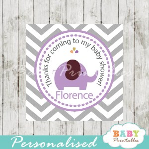 printable custom purple elephant baby shower gift labels