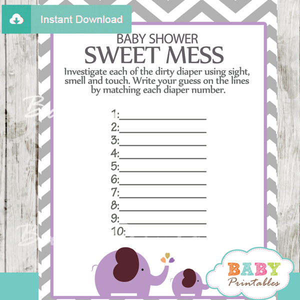 Baby Shower Game What's That Sweet Mess Dirty Diaper Shower Game
