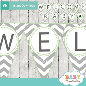 printable lime green elephant Baby Shower Pennant Banner diy